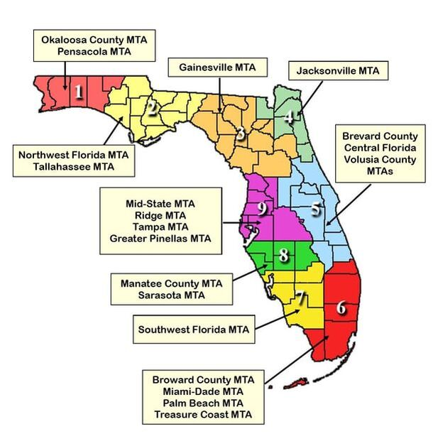 Northwest Florida Map.Fsmta Districts Florida State Music Teachers Association